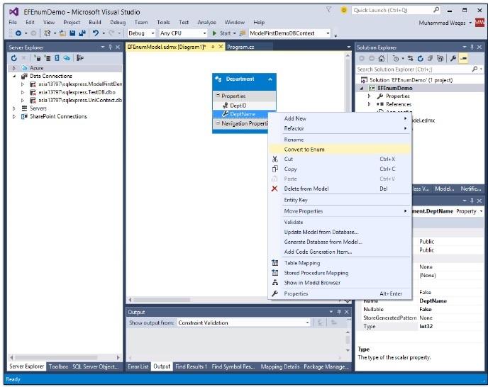 Entity Framework - Enum Support - Tutorialspoint