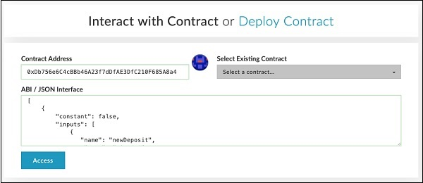 Interact with Contract Address