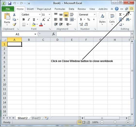 Close Workbook In Excel 2010