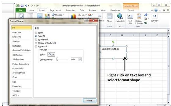 Add Text Box in Excel 2010 - Tutorialspoint