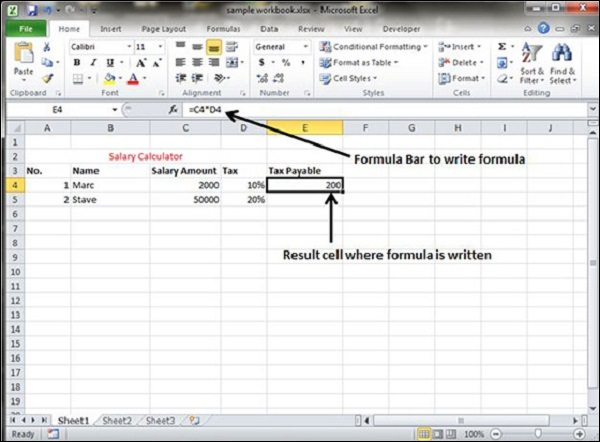 Creating Formulas in Excel 2010