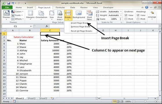 Insert Page Break in Excel 2010 - Tutorialspoint
