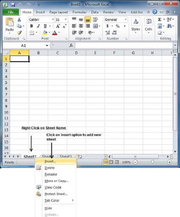 Create Worksheet in Excel 2010 - Tutorialspoint