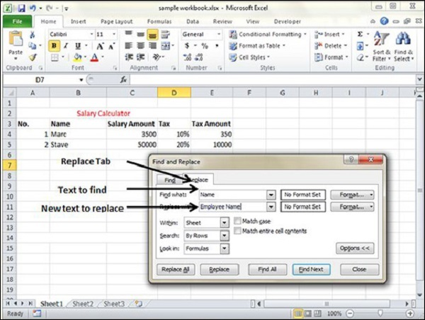 Replace Tab in Excel