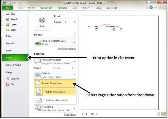 Setting Page orientation from File Menu