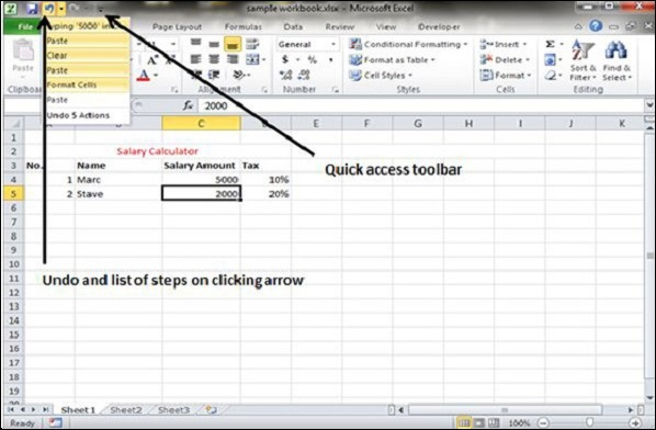 undo changes in excel 2010