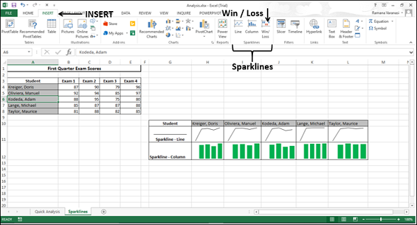 Win/Loss Sparkline with INSERT tab