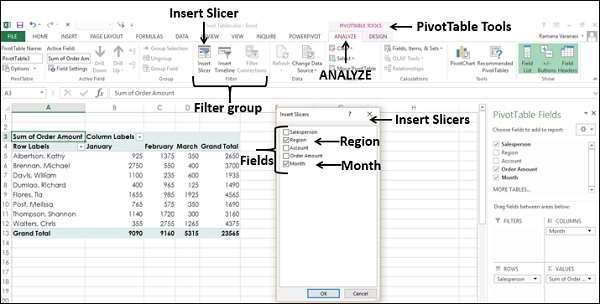Analyse PivotTable