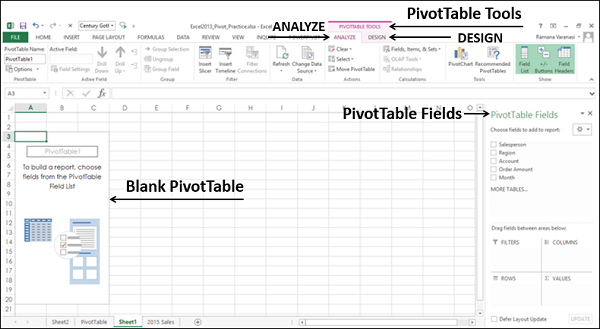 Blank PivotTable Fields