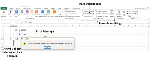 Click Trace Dependents