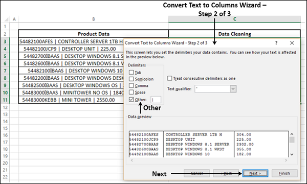 Convert Text to Columns Step2