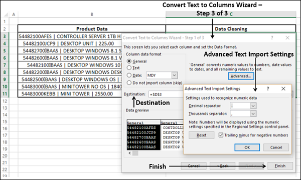 Convert Text to Columns Step3