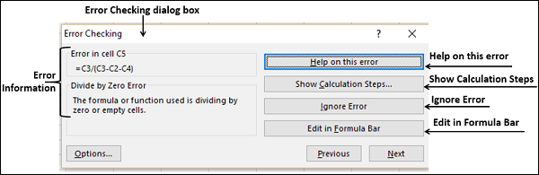 Error Checking Dialog Box