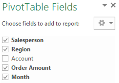 Header PivotTable Fields