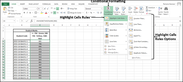 Highlight Cells Rules