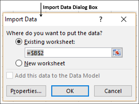 Import Data Dialog Box Appears