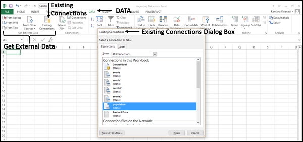 Importing Data using Existing Connection