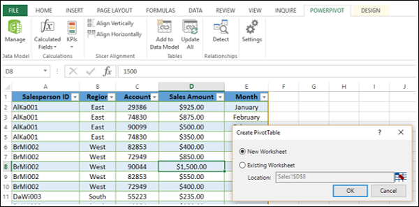 PivotTable Dialog Box