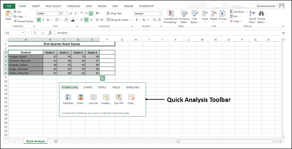 Quick Analysis Toolbar Options