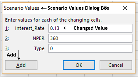 Scenario Values Dialog Box