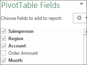 Select / Deselect PivotTable Fields