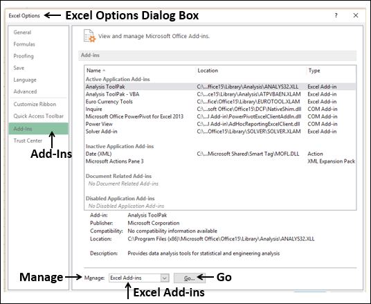 Select Excel Add-Ins