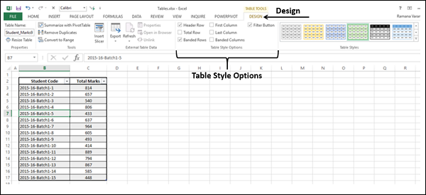 Table Style Options