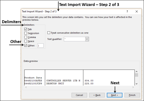 Text Import Wizard