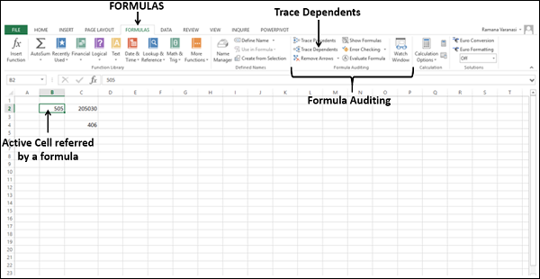Trace Dependents in Formula Auditing