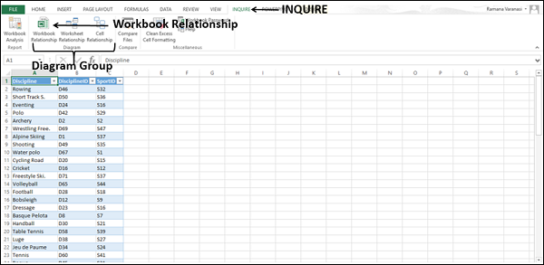 Viewing Workbook Relationships