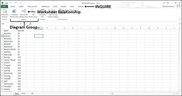 Viewing Worksheet Relationships