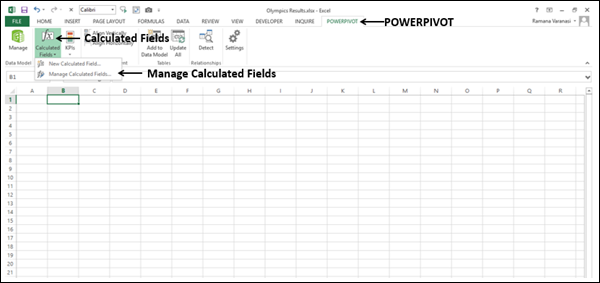 Deleting an Explicit Calculated Field in the Excel Window