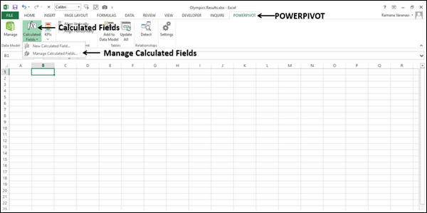Viewing Calculated Fields in the Excel Window
