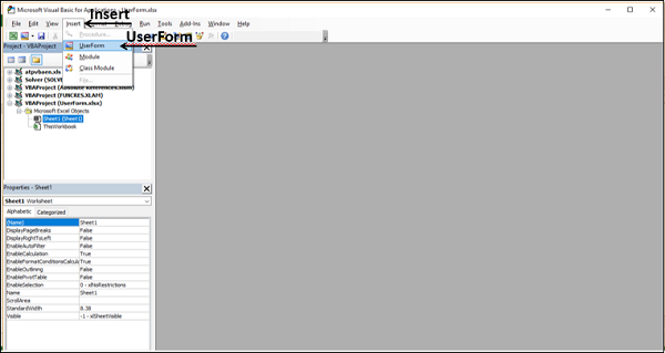 Creating UserForm