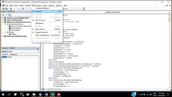 Excel Macros - Debugging a Code - Tutorialspoint