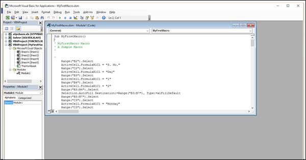 Excel Macros - Understanding Codes - Tutorialspoint
