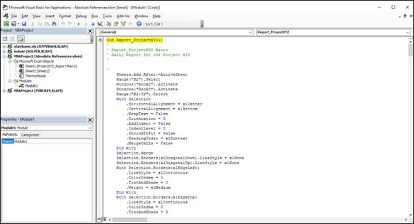 Excel Macros - Debugging a Code
