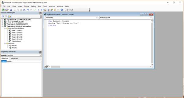 Creating a Macro Using VBA Editor - Tutorialspoint