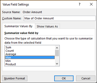 Excel Pivot Tables Summarizing Values