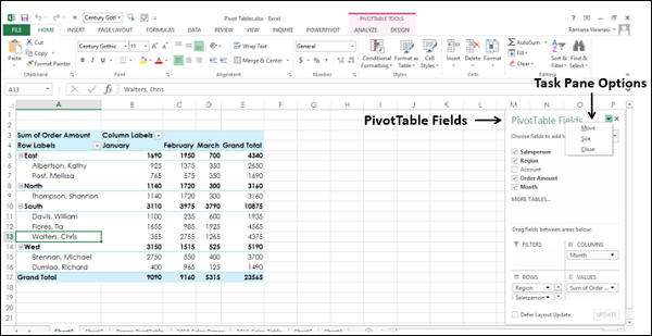 Moving PivotTables Task Pane