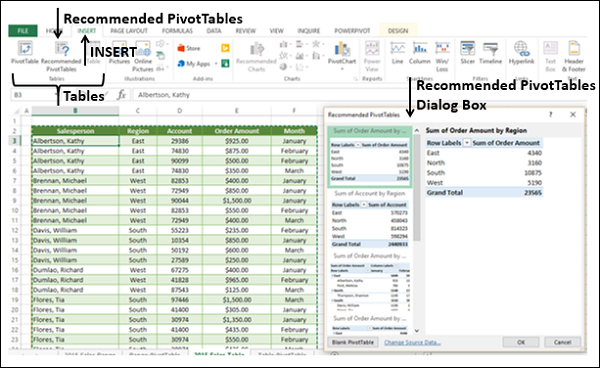 Recommended PivotTables