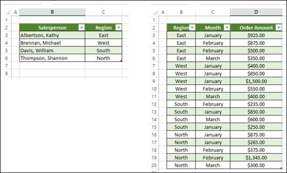 Adding Excel Tables