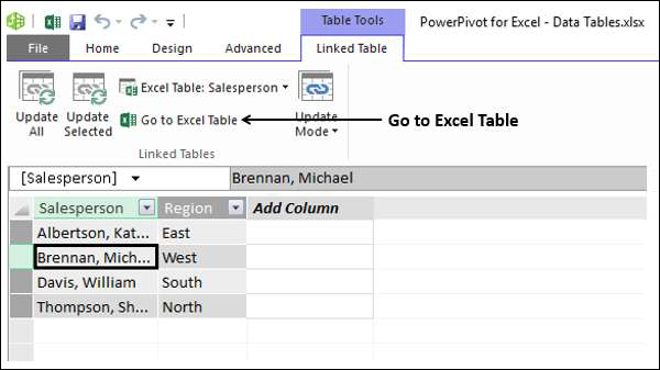 Go to Excel Table