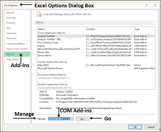 Excel Options Dialog Box
