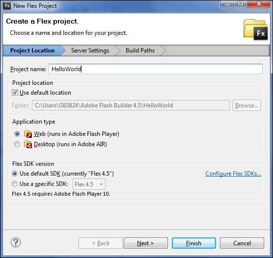 Create Flex Project Wizard