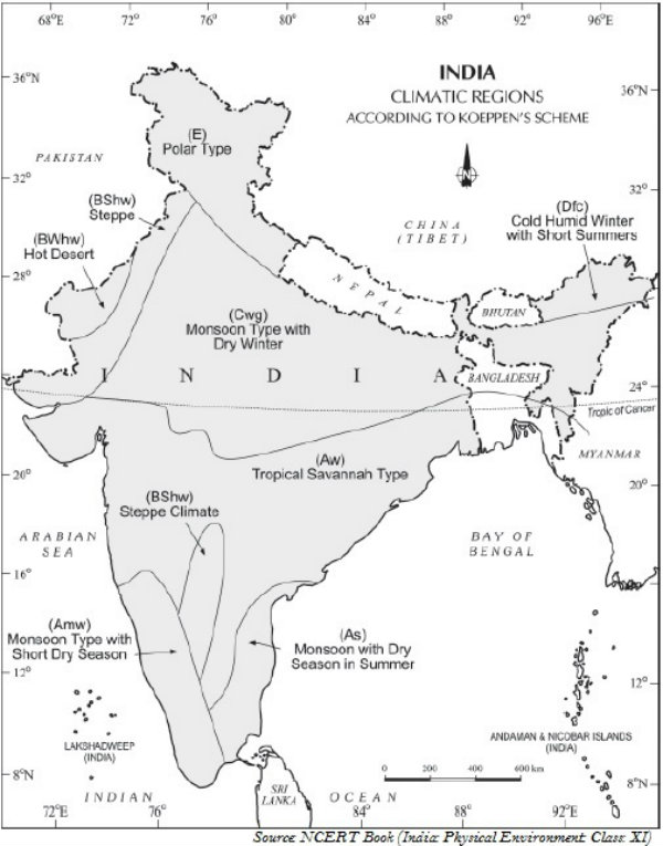 India Climatic Regions by K
