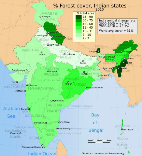 Actual Map Of India.Geography India National Forest