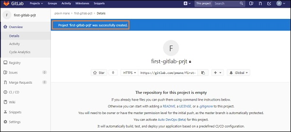 GitLab Create Project