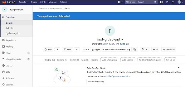 GitLab - Fork a Project