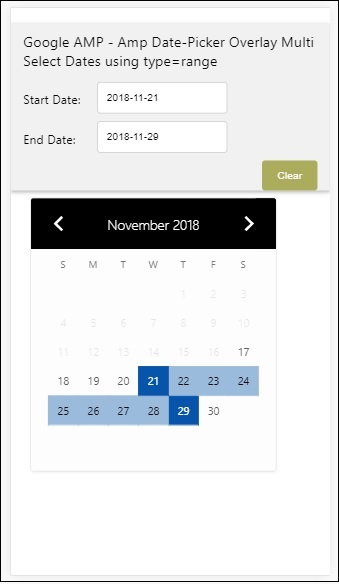 Google AMP Date Picker